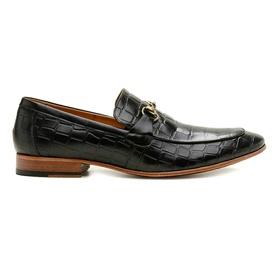 Sapato Social Couro Preto Croco Premium - 58850 P... - MADOK