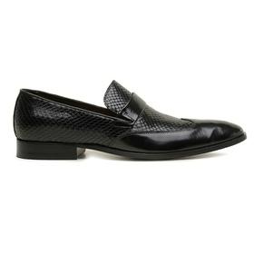 Sapato Social Couro Preto Wood Croco - 60079 - MADOK