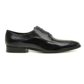 Sapato Social Couro Preto Wood Croco - 60080 - MADOK