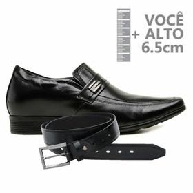 Sapato com Salto Interno Jota Pe Preto Couro Grow ... - MADOK