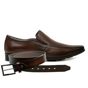 Sapato Jota Pe Couro Marrom Air Magic + Cinto de C... - MADOK