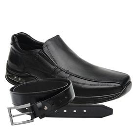 Sapato Jota Pe Preto Air Life + Cinto de Couro Pre... - MADOK