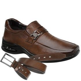 Sapato Jota Pe Marrom Air Life + Cinto de Couro ... - MADOK