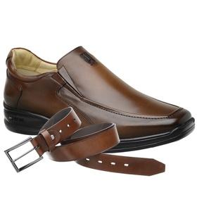 Sapato Jota Pe Marrom 3D Air Soft Space + Cinto de... - MADOK