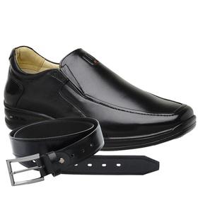 Sapato Jota Pe Preto 3D Air Soft + Cinto de Couro ... - MADOK