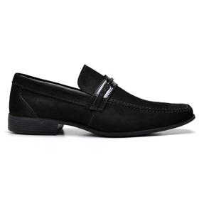 Sapato Social Couro Preto Nobuck - 3041 P - MADOK