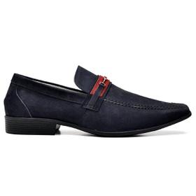 Sapato Social Couro Azul Marinho Nobuck - 3041 AZ - MADOK