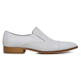 Sapato Social Couro Branco Laser - 60076 B Laser - MADOK