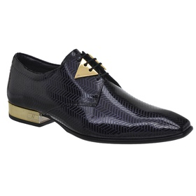 Sapato Social Jota Pe Verniz Blue Montblanc Gold -... - MADOK