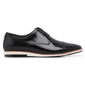 Sapato Casual Couro Derby Preto - 24515 P - MADOK
