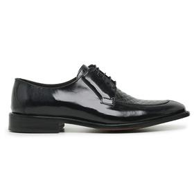 Sapato Social Couro Preto Croco Wood - 60482 P CR - MADOK