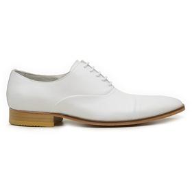 Sapato Social Masculino Branco em Couro De Amarrar... - MADOK