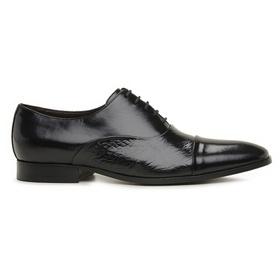 Sapato Social Preto Couro Wood - 60078 P - MADOK