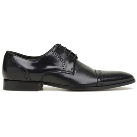 Sapato Social Preto Couro Wood Estampa - 60413 - MADOK