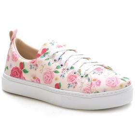 Tênis Casual Feminino Rosa Floral Conforto - 1002 ... - MADOK