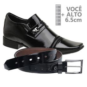 Sapato com Salto Interno Preto Jota Pe Verniz Grow... - MADOK