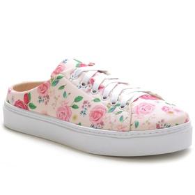 Tênis Mule Feminino Floral Rosa Conforto - 3001 F... - MADOK