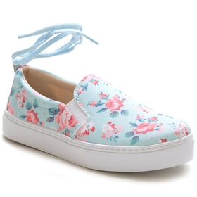 Tênis Slip On Feminino Floral Azul Conforto Amarra... - MADOK