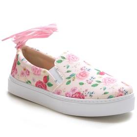 Tênis Slip On Feminino Floral Rosa Conforto Amarra... - MADOK