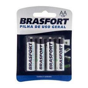 Pilha Pequena AA Comum 4un Brasfort (14783) - Padrão - atacadostar.com.br