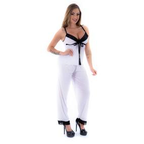 Pijama Melissa Calça (PS8444) - Branco C/ Preto - atacadostar.com.br