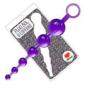 Plug Bol Com 6 Esferas 18cm SF (EL006-14943) - Roxo - atacadostar.com.br