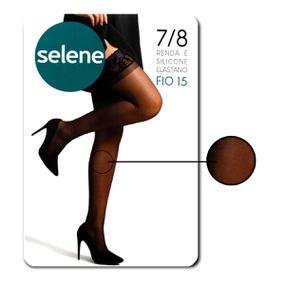 Meia 7/8 Com Renda E Silicone Selene (ST253) - Preto - atacadostar.com.br