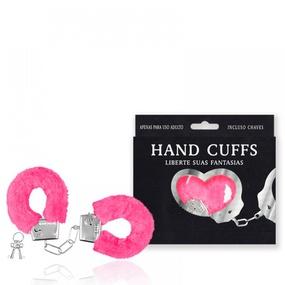 Algema Com Pelucia Hand Cuffs (AL001-ST192) - Rosa Pink - lojasacaso.com.br