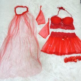 *Fantasia Sex Noiva (DM320) - Vermelho - lojasacaso.com.br
