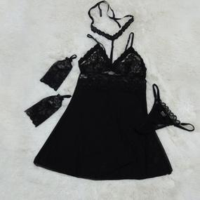 *Camisola em Tule Segredo da Paixão (SP613) - Preto - lojasacaso.com.br