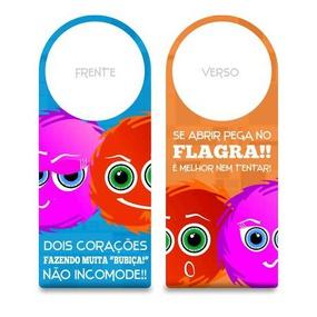 Aviso De Porta Fofuras Da Maçaneta (ST190) - Dois Corações F... - lojasacaso.com.br