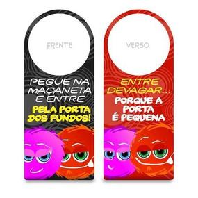Aviso De Porta Fofuras Da Maçaneta (ST190) - Pegue na Maçane... - lojasacaso.com.br