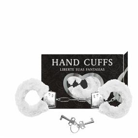 Algema Com Pelucia Hand Cuffs (AL001-ST192) - Branco - lojasacaso.com.br