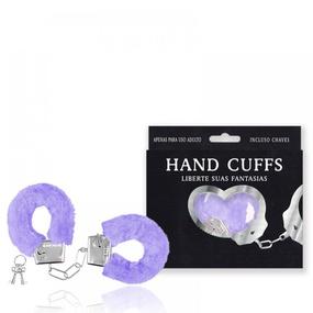 Algema Com Pelucia Hand Cuffs (AL001-ST192) - Lilás - lojasacaso.com.br