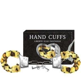 Algema Com Pelucia Hand Cuffs (AL001-ST192) - Onça - lojasacaso.com.br