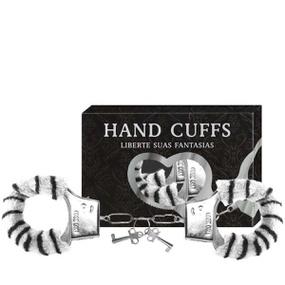Algema Com Pelucia Hand Cuffs (AL001-ST192) - Zebra - lojasacaso.com.br