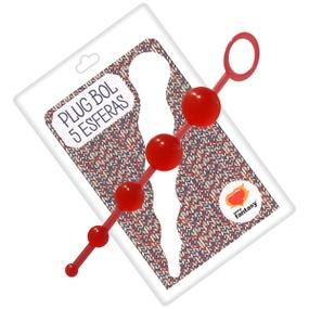 Plug Bol Com 5 Esferas 15cm SF (EL005-ST630) - Vermelho - lojasacaso.com.br