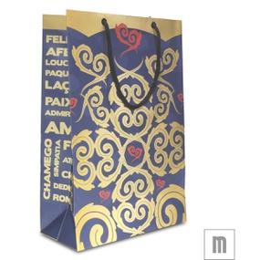 Sacola Para Presente Média 31x10cm (17457-ST714) - Azul - lojasacaso.com.br