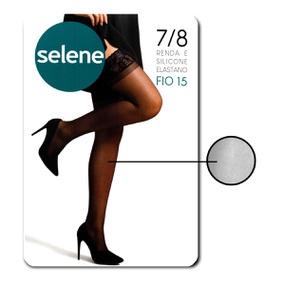 Meia 7/8 Com Renda E Silicone Selene (ST253) - Branco - lojasacaso.com.br