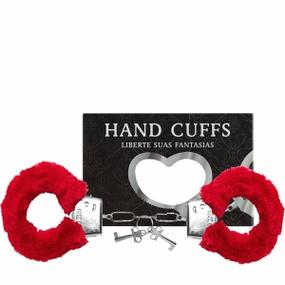 Algema Com Pelucia Hand Cuffs (AL001-ST192) - Vermelho - PURAAUDACIA