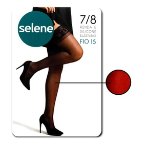 Meia 7/8 Com Renda E Silicone Selene (ST253) - Vermelho - PURAAUDACIA