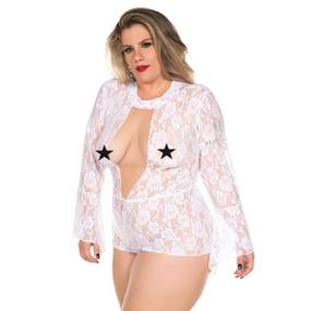 *Macaquinho Princesa Plus Size (PS2074) - Branco - tabue.com.br