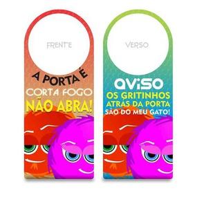 Aviso De Porta Fofuras Da Maçaneta (ST190) - A Porta é Corta... - tabue.com.br