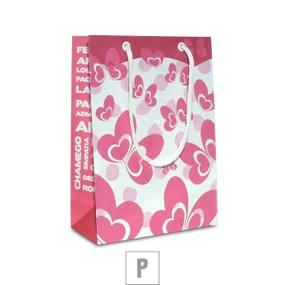 Sacola Para Presente Pequena 21x7cm (ST666) - Rosa - tabue.com.br
