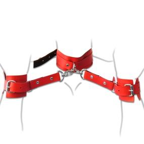 Coleira Com Algemas Harness 50 Tons (T015) - Vermelho - tabue.com.br