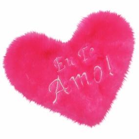 Estojo em Pelúcia Formato de Coração (CP02-ST688) - Rosa - tabue.com.br