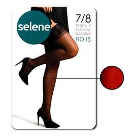 Meia 7/8 Com Renda E Silicone Selene (ST253) - Vermelho - tabue.com.br