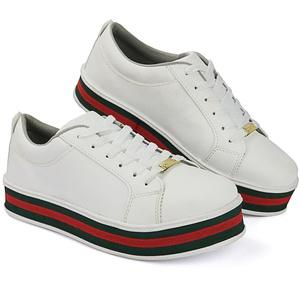 Tênis casual feminino CRshoes   Branco Solado Verm... - CRSHOES
