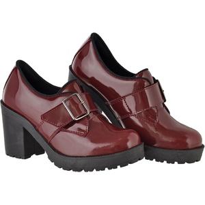 Oxford feminino tratorado CRshoes verniz marsala - CRSHOES