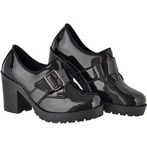 Oxford feminino tratorado CRshoes verniz preto - CRSHOES